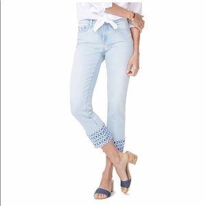NYDJ Sheri Ankle Slim Jean Printed Raw Hem Size 0